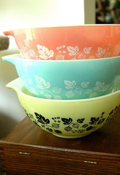 Three variations of Pyrex Gooseberry pattern.  Grew up with the yellow.  I now have the pink.  Have never seen the blue... Very pretty!