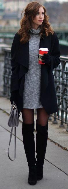 Combinar vestido gris invierno