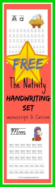 Hurry and grab these FREE Nativity Handwriting Sets, both in Manuscript and Cursive. There are 104 pages to print.