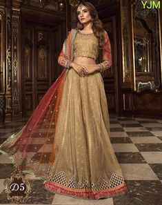Peach lehenga choli with dupatta. Work - Heavy embroidery work on lehenga, choli and dupatta. This product comes with a Choli which can be customized upto 40 Inches Bust Size. The Choli Bridal Lehenga Choli, Pakistani Bridal Dresses, Silk Lehenga, Anarkali, Pakistani Suits, Saris, Style Personnel, Maria B, Party Wear Dresses