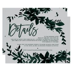 Green foliage script Floral grey wedding direction Card - gold wedding gifts customize marriage diy unique golden