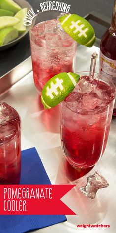 Cool down during the Big Game with this this refreshing 3 PointsPlus value Pomegranate Cooler complete with lime football garnishes! Add your favorite liquor for an easy and fun cocktail!