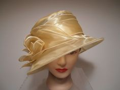 Hat - BUTTER Yellow Organza Wide Brim Kentucky Derby Wedding Church ROSETTES in Clothing, Shoes & Accessories | eBay