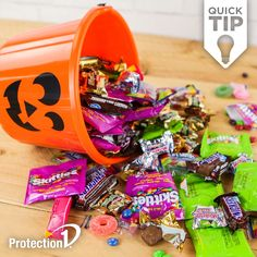 Be sure to only eat wrapped candy from your trove of treats. From all of us at Protection have a safe and happy Halloween! Halloween Games, Halloween Horror, Halloween Treats, Happy Halloween, Home Security Companies, Home Protection, Food Crafts, Child Safety, Pumpkin Spice