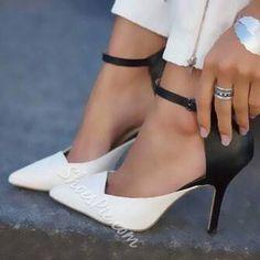 Shoespie Contrast Colors Ankle Wrap Stiletto Heels