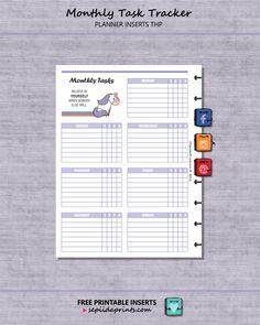 Free Printable Monthly Task Tracker - Planner Insert - Sepiida Prints