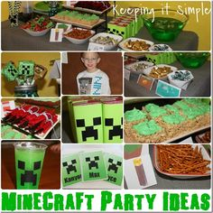 Easy and Fun Minecraft Birthday Party Ideas: Food, Favors and more. #minecraft #boys #party #birthday #keepingitsimple #silhouette
