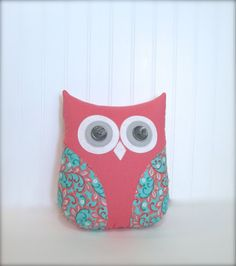 This adorable plush coral, gray and green owl pillow is full of color and will brighten any room in your home!    It is made with coordinating