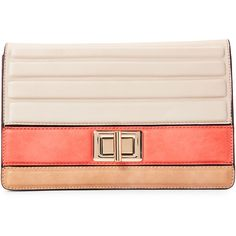 Melie Bianco Bone & Coral Mila Color Block Clutch ($25) ❤ liked on Polyvore featuring bags, handbags, clutches, white, melie bianco, color block handbag, colorblock purse, white clutches and faux-leather handbags