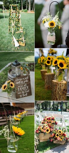 35 Pretty and Bright Sunflower Wedding Ideas - EmmaLovesWedd.- 35 Pretty and Bright Sunflower Wedding Ideas – EmmaLovesWeddings rustic outdoor wedding decoration ideas with sunflowers - Fall Sunflower Weddings, Sunflower Wedding Decorations, Outdoor Wedding Decorations, Wedding Centerpieces, Wedding Bouquets, Wedding Ideas With Sunflowers, Outdoor Weddings, Sunflower Wedding Flowers, Altar Decorations