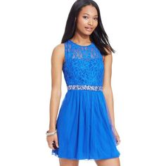 Speechless Juniors' Lace Illusion Dress ($32) ❤ liked on Polyvore featuring dresses, royal blue, royal blue cocktail dress, lacy dress, metallic cocktail dress, blue lace cocktail dress and speechless dresses