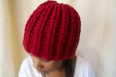 Cherry Red Crochet Hat Winter Hat by BFCouture on Etsy, $30.00
