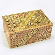 puzzle box | japanese puzzle box with koyosegi pattern, handcrafted
