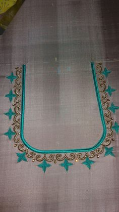 Best 12 U shape Kids Blouse Designs, Simple Blouse Designs, Stylish Blouse Design, Blouse Neck Designs, Peacock Embroidery Designs, Mirror Work Blouse Design, Maggam Work Designs, Maggam Works, Saree Blouse