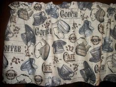 Vintage Look Coffee Cup Beans Cafe Pot kitchen topper curtain fabric Valance Cute Kitchen, Kitchen Decor, Curtain Fabric, Curtains, Kitchen Window Treatments, Vintage Looks, Coffee Cups, Kids Room, Stripes