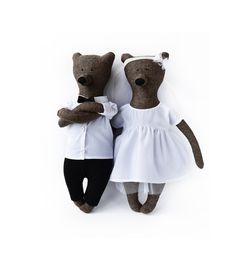 Kate and Christopher - wedding bears. Primitive teddy Bear. Child friendly toys. Soft Bear - Best Friend for kids