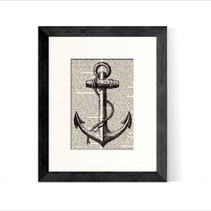 Anchor Art Print An Actual Vintage Book Page Beautifully Matted  The Anchor is a Symbol of both Hope and Steadfastness.  Ive placed this Antique Anchor Illustration over a rescued Vintage desk Encyclopedia book page and then framed in an 8 x 10 creamy white mat creating a gorgeous and unique one of a kind piece of artwork.  PLEASE NOTE: Picture Frame not included. You will not receive the exact book page shown, you will receive a page from said book.  The book page is approximately 5 x 8…