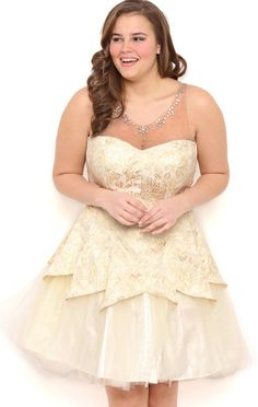 Deb Shops Plus Size Brocade Strapless Cupcake Prom Dress with Tulle Tulip Skirt $96.50