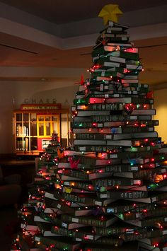 NUC Christmas Tree made out of books 2010_04 By shawncalhoun on Flickr