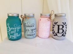 Custom Mason Jar Tissue Dispenser - Tissues for Your Issues! Mason Jar Projects, Mason Jar Crafts, Mason Jar Diy, Custom Mason Jars, Painted Mason Jars, Do It Yourself Organization, Quart Size Mason Jars, Do It Yourself Crafts, Wine Bottle Crafts