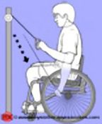 The following 16 exercises and more can be found at PhysioTherapy Exercises for people with injuries and disabilities. Even though most of the illustrations depict a para, these exercises are designed to help quads strengthen their arms and shoulders with the assistance of a physical therapist.
