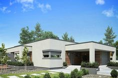 Proiect casa parter - Smart Home Concept Modern Small House Design, Flat Roof, Smart Home, Recreational Vehicles, Pergola, Garage Doors, Shed, New Homes, Outdoor Structures