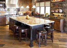 Inspiration for kitchen island with seating custom with Small kitchen furniture Rustic Kitchen Island, Rustic Kitchen Design, Kitchen Island With Seating, Kitchen Islands, Kitchen Designs, Wooden Kitchen, Kitchen And Bath, New Kitchen, Kitchen Decor