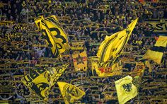 Download wallpapers Borussia Dortmund, 4k, fans, tribune, Bundesliga, BVB, football, soccer
