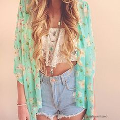 Floral Crop Sleeves Kimono - Sky-blue