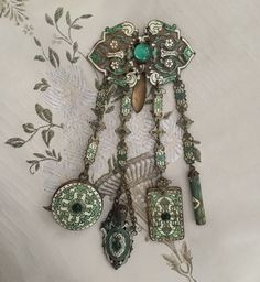 scarce ANTIQUE VICTORIAN enamel CHATELAINE appendages vinaigrette dance card etc #NA