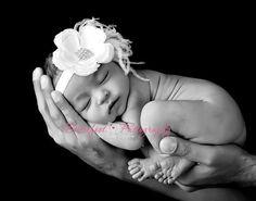 Baby Girl Headbands..White Flower Headband..Newborn headband..White Flower Headband..Feathers..Rhinestones..Infant Baby Girl..Toddler..Baby. $13.50, via Etsy.