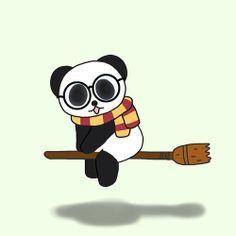 Potter panda Panda Meme, Niedlicher Panda, Cartoon Panda, Cute Cartoon, Panda Bears, Cute Panda Drawing, Cute Animal Drawings, Panda Kawaii, Harry Potter Stencils