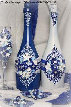 Декор предметов Свадьба Лепка Свадебный набор в синем цвете Пластика фото 3