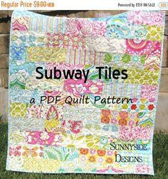 Baby Quilt Pattern Subway Tiles Fat Eighths by SunnysideFabrics