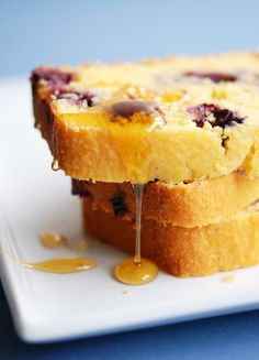 blueberry cornbread drizzled with honey