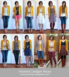 Cute ways to wear mustard cardigans!