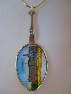 London enamelled spoon with sterling silver chain necklace
