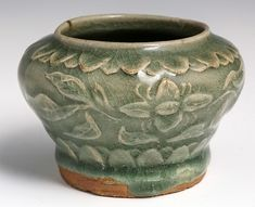 """YAOZHOU CARVED BOWL CELADON GLAZE NORTHERN SONG Chinese Yaozhou bowl with carved relief under celadon glaze, Northern Song. Size: 2.5"""" tall with 2.25"""" diameter at mouth"""