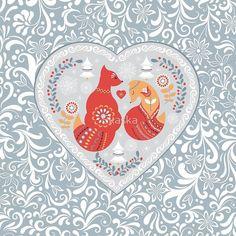 Scandinavian cute folk pattern with fox and flowers. Patterned heart. Folk art. #Scandinavian #folk #art #heart #cute #animals