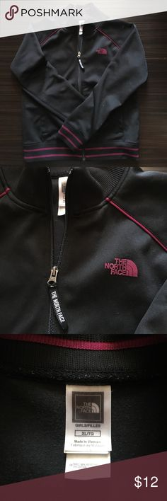 Girls XL North Face track jacket The North Face track jacket, black with hot pink detail. Girls size XL, fits women's M. The North Face Tops Sweatshirts & Hoodies