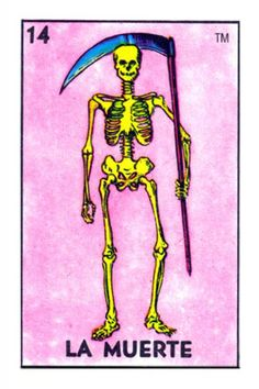 The classic La Muerte card from the Loteria deck produced by Don Clemente / Pasatiempos.