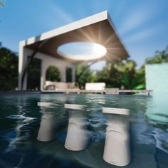 Modern Outdoor Furniture, Backyard Furniture, Pool Bar, Ledge Lounger, Patio Accessories, Sims, Pool Water Features, Swimming Pool Landscaping, Vinyl Pool