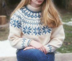 Vintage Dale of Norway Women's Sweater - white light blue wool snowflake ski sweater. $65.00, via Etsy.