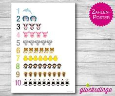♥ 1 2 3 Poster A4 ♥ Geschenk zum Schulanfang von j-designerie - FEINE DRUCKSACHEN auf DaWanda.com