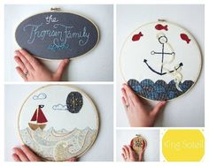Custom Nursery Art Embroidery Hoop Set Nautical Wall Art Upcycled Fabric Design your Own One of a Kind