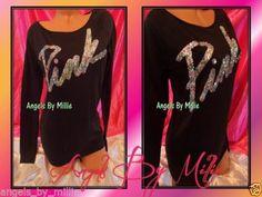 New Victoria's Secret Pink s Black Bling Script Sequins Baggy Crew sweat Shirt | eBay