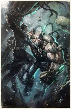 Batman vs Bane by Rudy Ao Bane Batman, Im Batman, Spiderman, Batman Ninja, Batman Stuff, Marvel Dc Comics, Dc Comics Art, Batman Artwork, Batman Wallpaper