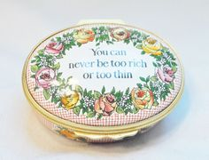 HALCYON DAYS ENAMELS - TRINKET BOX - YOU CAN NEVER BE TOO RICH OR TOO THIN