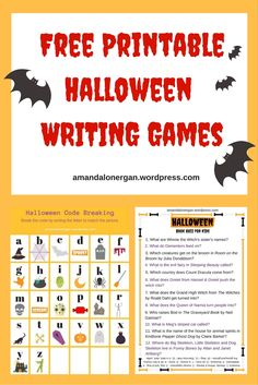 WRITING ACTIVITY for Halloween: Book quiz and code breaking. Free printables.
