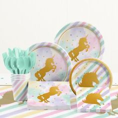 Decorate your child's birthday party table with the Creative Converting Unicorn Sparkle Birthday Party Tableware Kit. The playful tableware collection includes plates, cups, cutlery, and more to complete the special day. Unicorn Birthday Decorations, Unicorn Themed Birthday Party, Birthday Party Tables, Unicorn Birthday Parties, First Birthday Parties, First Birthdays, 5th Birthday, Birthday Ideas, Birthday Stuff